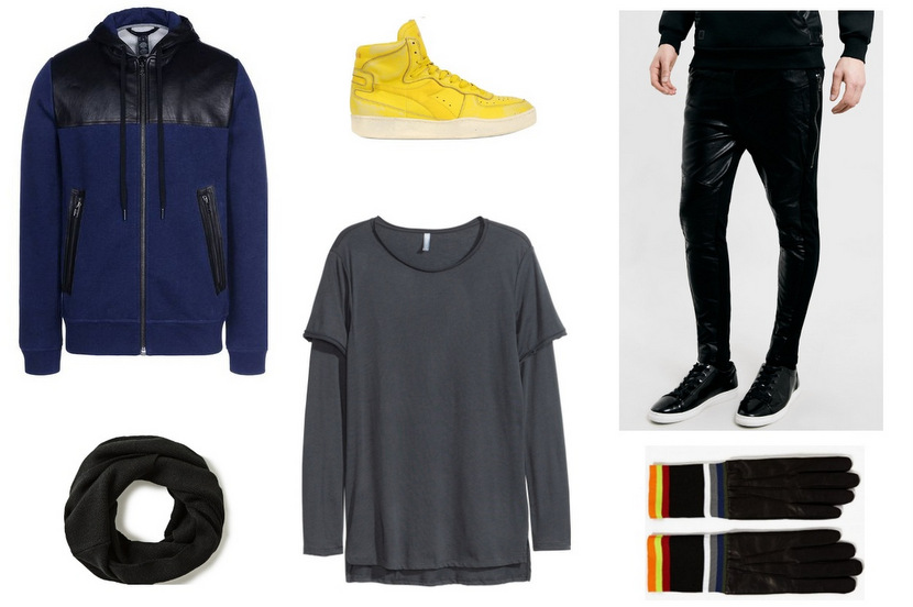 total look sporty leather