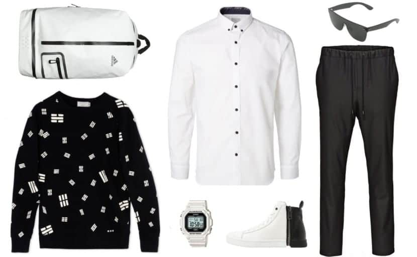 total look sporty-chic en blanco y negro
