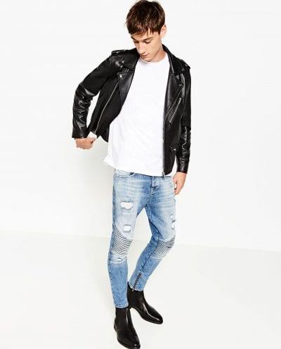 Jeans biker efecto lavado de Zara