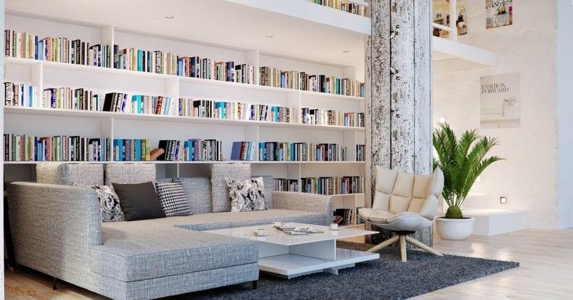 Sala de estar con librería