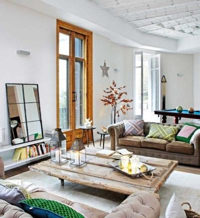 Sala de estar basada en la madera