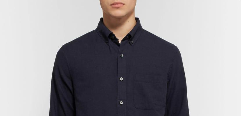 Camisa de franela con cuello abotonado