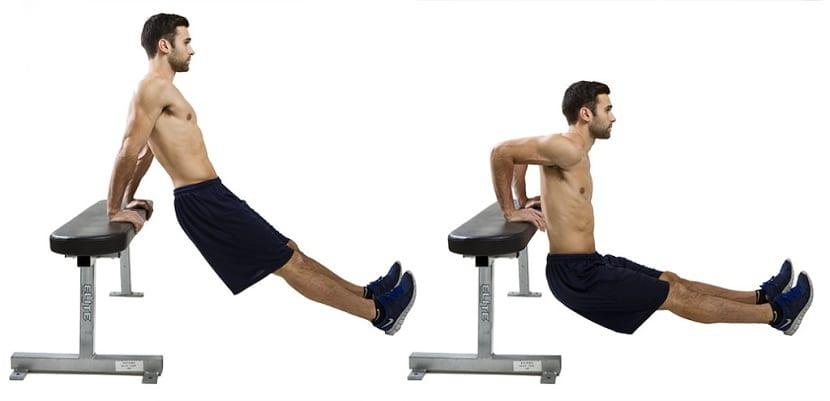 fondo en bancos para triceps