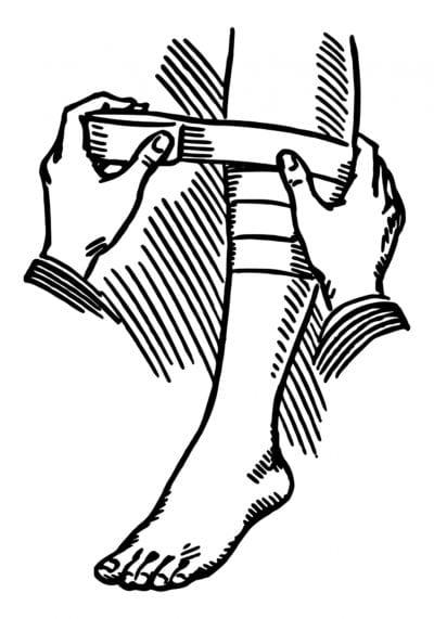 Vendaje compresivo en la pierna