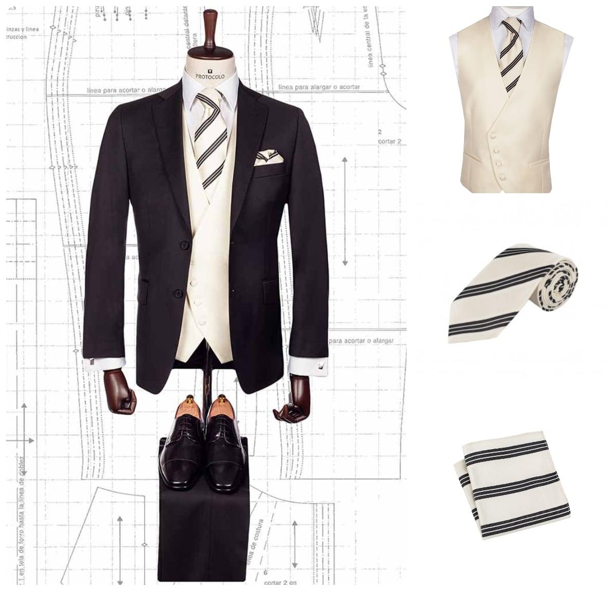 Traje negro sencillo con chaleco blanco