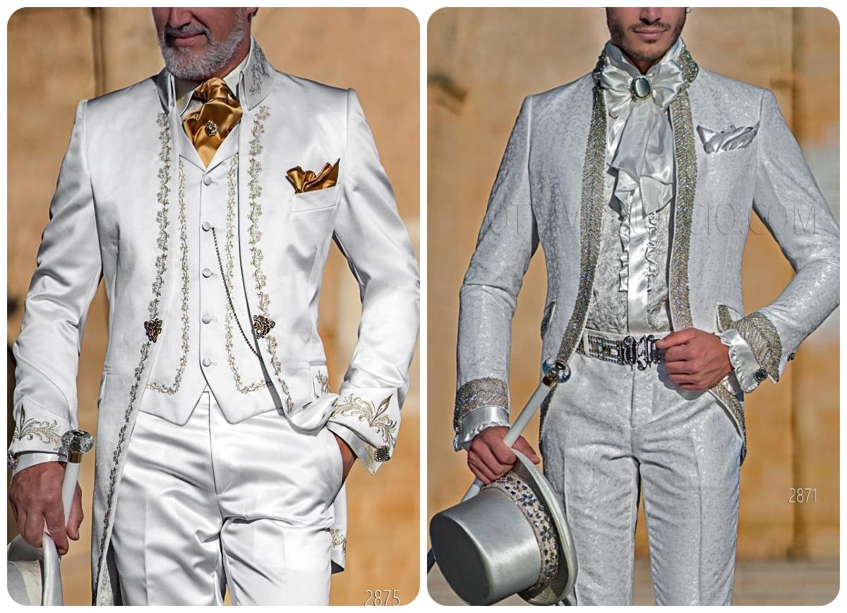 traje novio blanco estilo barroco